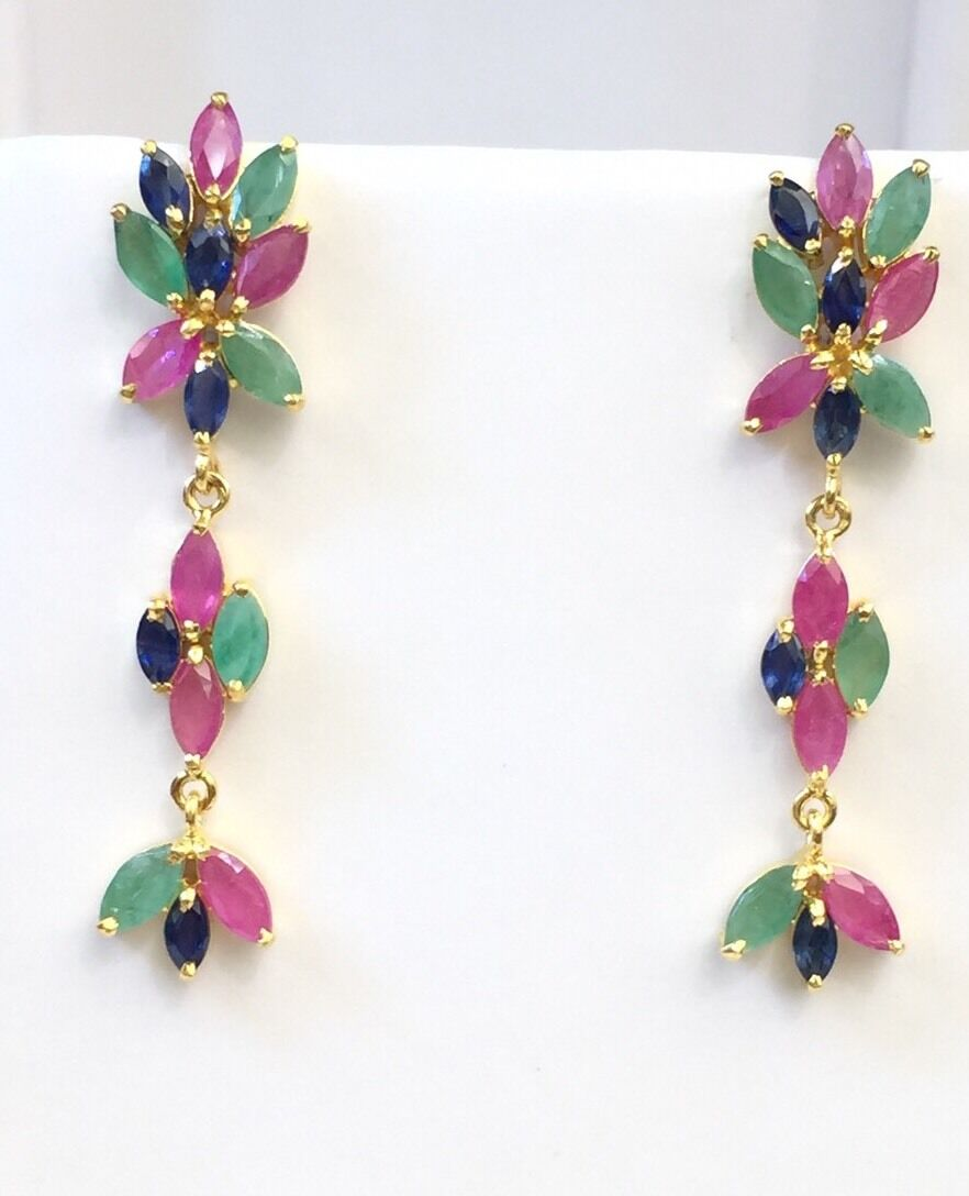 14k Solid Yellow gold Cluster Dangle Stud Earrings,Mix Ruby Emerald Sapphire