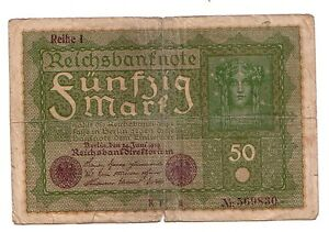 Germania-Germany-50-mark-1919-MB-POOR-pick-66-lotto-3946