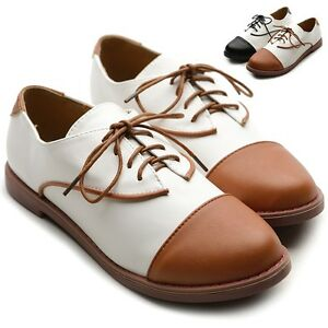 ollio-Women-Flats-Low-Heels-Lace-Up-Classics-Loafers-Multi-Colored-Oxford-Shoes