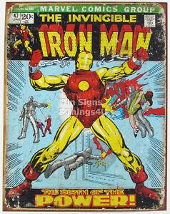 Iron Man Retro Tin Metal Sign Marvel Comics New Super Hero