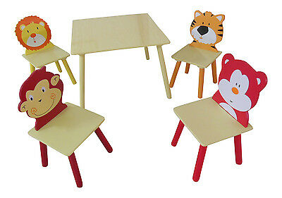 ANIMAL SAFARI THEMED KIDS CHILDRENS TABLE AND 4 CHAIRS SET FOR BOYS OR GIRLS