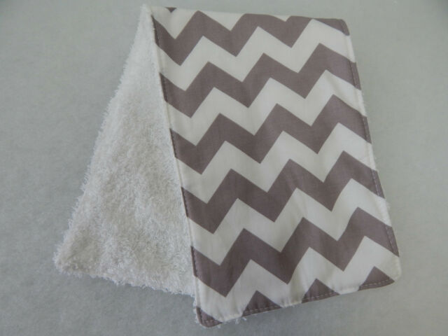 Grey Chevron Burp Cloth - 1 Only Towelling Back GREAT GIFT IDEA!!