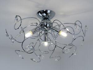 Lampadario Plafoniera Per Soggiorno : Lampadario plafoniera moderna con cristalli metallo cromato da