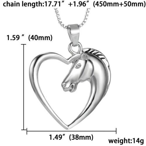 Fashion Unisex Silver Love Heart Horse Pendant Necklace Box Chain Jewelry 1PC