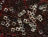 Antique Metal Sequins Square Diamond Hole French Doll Trim Button Beads Rare Lot