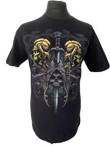 Artful Custom Grim Reaper Skull Sword Death Heavy Metal Black Tee T-Shirt XL