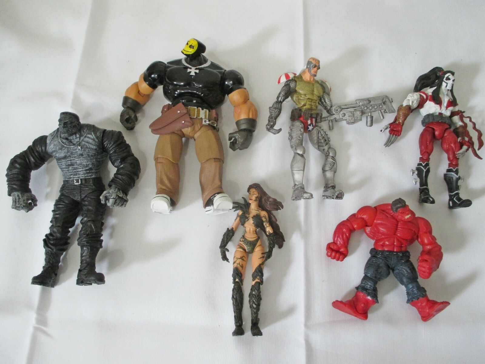 Marvel - figur viel clownface, witchblade, ripclaw, superpatriot, rote hulk. mehr