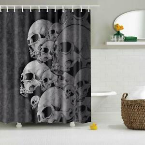 Image Is Loading Vintage Skull Shower Curtain With Ring Hooks Bathroom