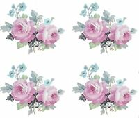 Beautiful Hp Mauve & Teal Cabbage Roses Shabby Waterslide Decals Knobshangers