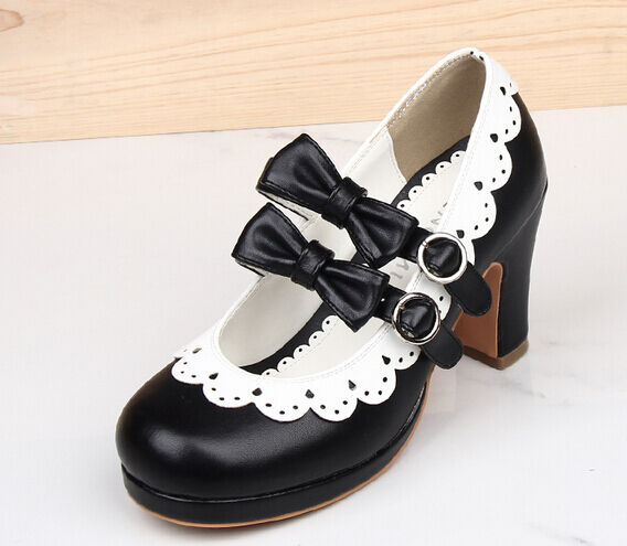 Womens Girls Heel Pumps Bowknot Mary Janes Vintage Retro Lolita Shoes Plus Size