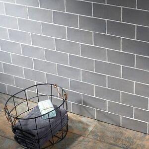 sample of country handmade dark grey ceramic wall tiles 7 5 x 15cm