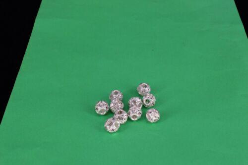 6mm-10mm argent shamballa strass perles strass Blotter Spacer Bijoux