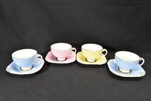 Royal-Paragon-Art-Deco-G1211-Blue-G1208-3-Yellow-G1208-2-Pink-4-Cups-amp-Saucers