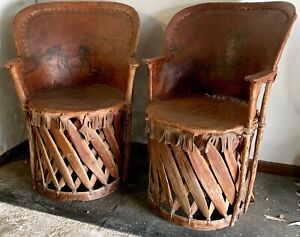 Vintage Mexican Equipale Chairs Pair Early Old Folk Art Southwest