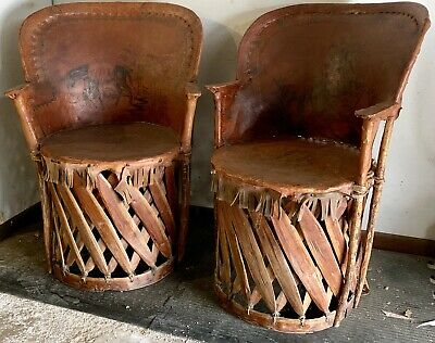 Vintage Mexican Equipale Chairs Pair Early Old Folk Art Southwest Furniture  Rare | EBay