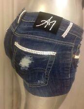 $359 A7 Shorts  Blu Jeans - 26 -   Fully embellished with SWAROVSKI ELEMENTS !!!