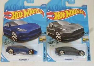 Hot Wheels - Lot of 2 - Tesla Model 3 - Gray - Blue - NEW ...