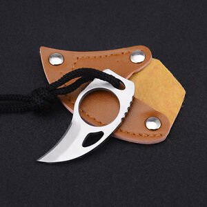 1x-Bear-Claw-Messer-Stainless-Steel-Finger-Loch-Camping-Hunting-Sabe-2cm-Loch