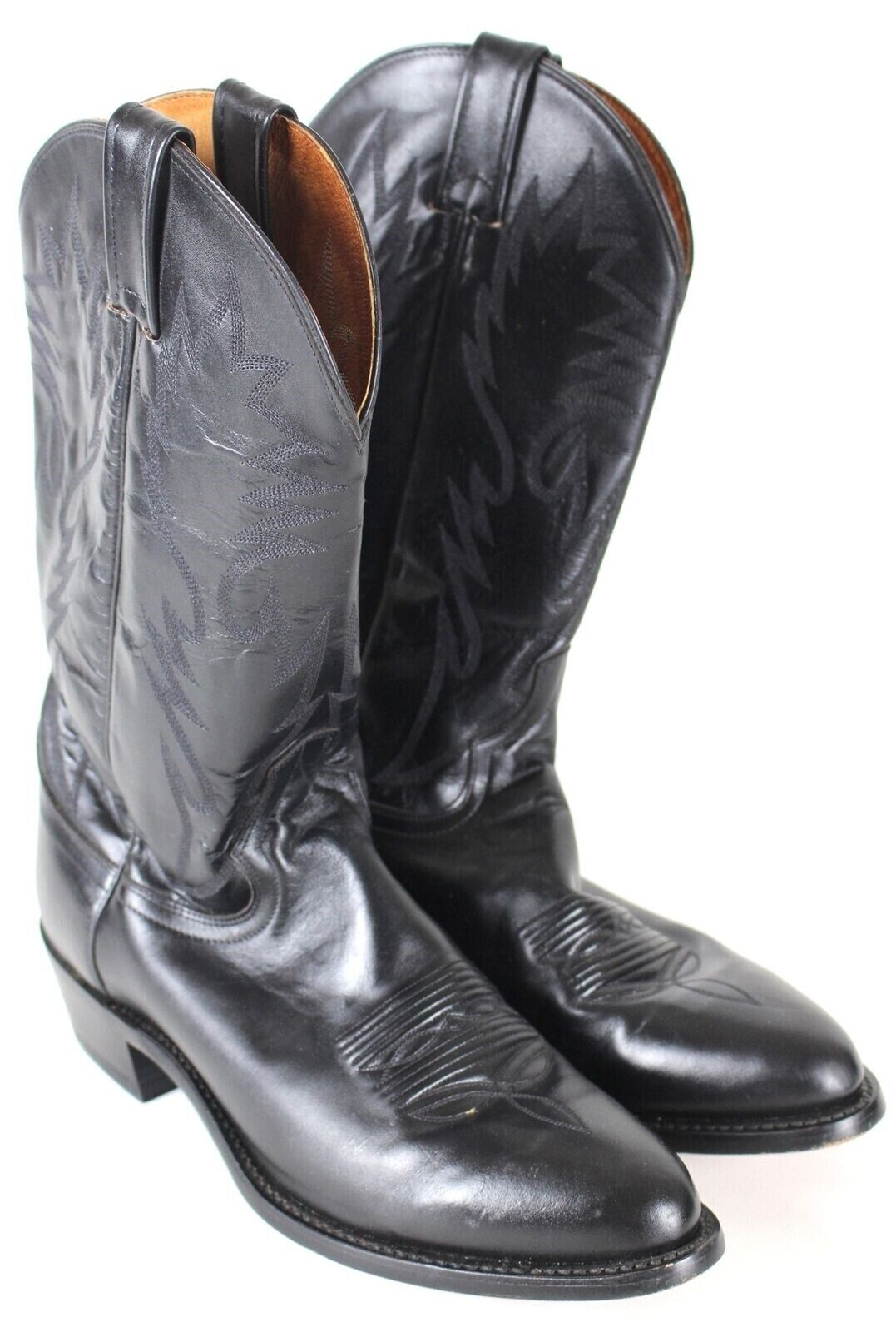 Dan Post Black Leather Cowboy Boots MENS 10 D Western Pull On