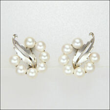 MIKIMOTO Japan -  Silver Cultured Pearl Screw Back Earrings