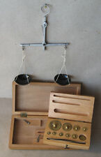 ANTIQUE HANGING SCALES BALANCE / SET OF WEIGHTS 1 mg to 100g
