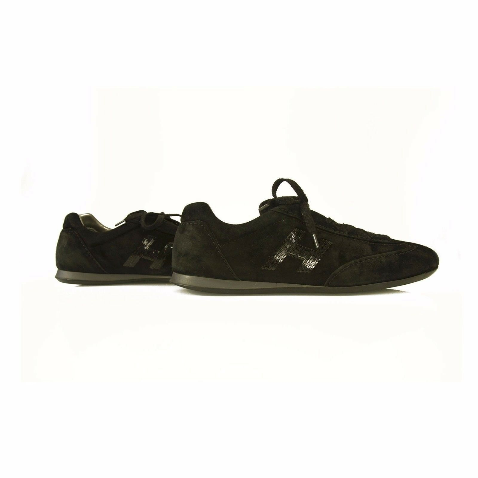 Black suede HOGAN Olympia By TOD'S H squined shoes Sneakers Trainers shoes 41