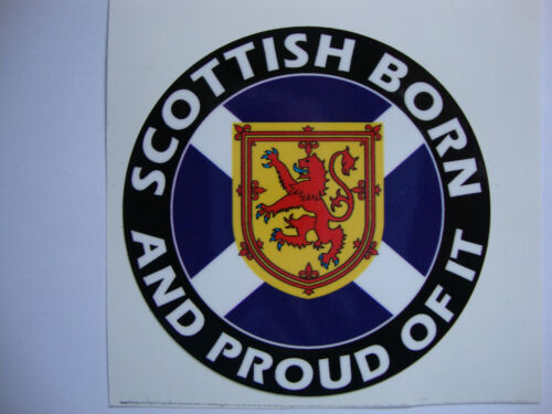 2 SCOTTISH BORN MOTOR BIKE HELMET STICKERS SCOTLAND   IOM TT GLASGOW  ABERDEEN