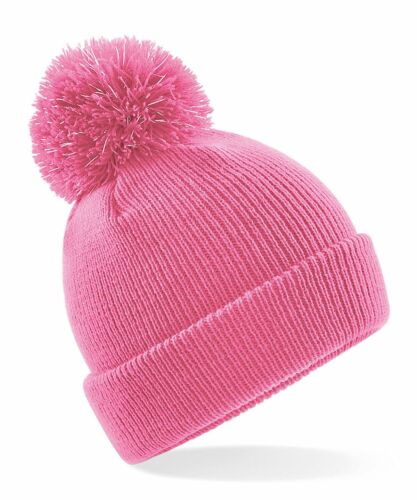 Boys Girls Reflective Pom Pom Beanie Bobble Hat Personalised Embroidered Name