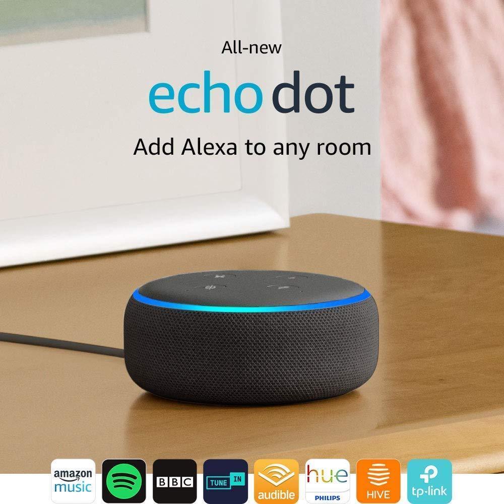 Amazon Echo Pois (3e Gen) - Smart Haut-Parleur avec Alexa - Charbon Tissu Neuf &