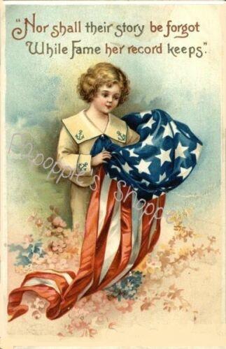 Vintage 4th of July Fabric Block Patriotic Small Boy US Flag