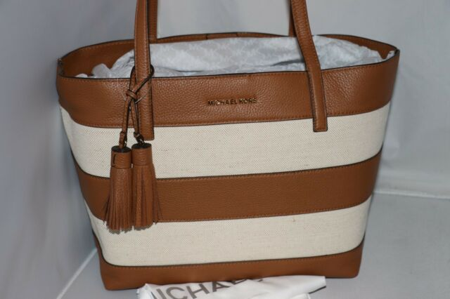 08be6ab7171b Michael Kors 30h6guot3c Large Stripe Canvas and Leather Tote Natural Acorn