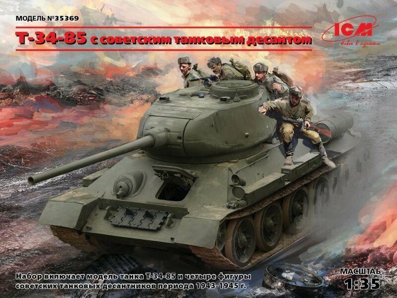 1 35 Assembly kit model T-34-85 with a Soviet tank landing (ICM)
