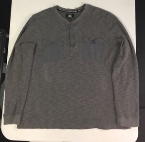 Mens-ROCK-amp-REPUBLIC-Gray-Henley-Long-Sleeve-Shirt-Size-XL-Extra-Large