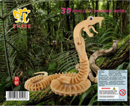 SNAKE COBRA Serpent 3D Jigsaw DIY Realistic Wooden Model Kit Decorat Puzzle Gift