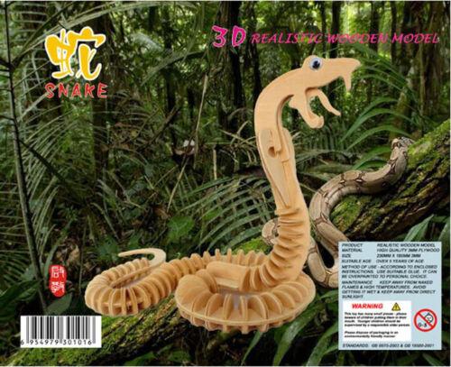 SNAKE COBRA Serpent 3D Jigsaw DIY Realistic Wooden Model Kit Decorat Puzzle Gift