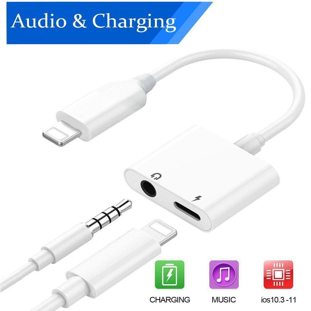 6b9042e878d 2 in 1 iPhone Splitter Lightning Charger Adapter 3.5mm AUX Audio Earphone 7  8 X