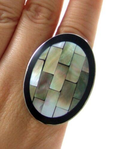 Mosaïque de nacre shell ring Taille US 6 To 9 Réglable Femmes Bijoux GA147