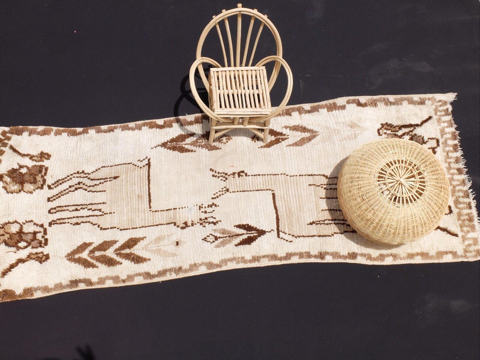 Vintage Authentic Woolen Azilal rug Berber handmade  Teppich 7'4''x 2'10''