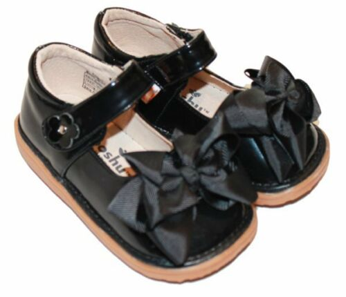 MOOSHU Trainers Squeeker Shoes NEW Black Patent Sz 3-9 Mary Jane