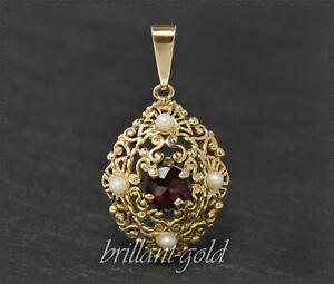 Granat-amp-Perlen-Anhaenger-Antike-Jugendstil-Handarbeit-um-1920-aus-333-Gold