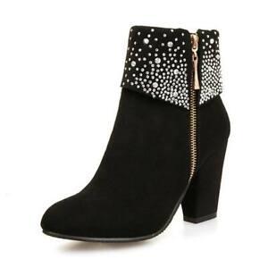 Para estrenar cb93c ed9cd Details about Zapatos Mujer de Moda Invierno Botas Gruesos Tacones Altos  Botines de Cristal