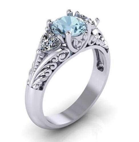 Antique 925 Silver Round Cut 2.00CT Aquamarine Floral Engagement Ring Size 5-11
