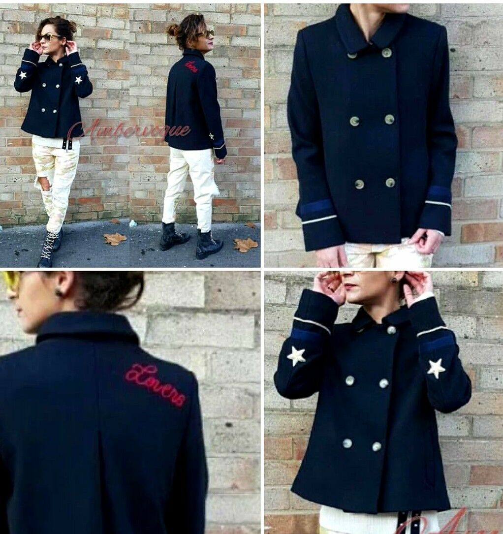 Zara NEW NAVY NAVY NAVY blueE WOOL  COAT WITH PATCHES SIZE Xs e788c7