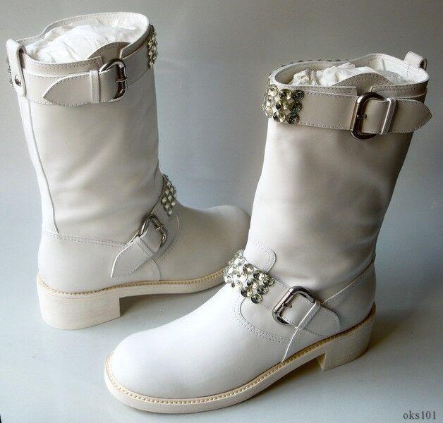 New  1295 Giuseppe ZANOTTI ZANOTTI ZANOTTI Weiß leather JEWELED Stiefel 40.5 10.5 - SO AMAZING c2e276