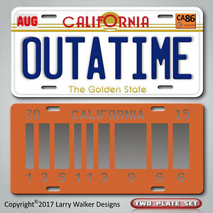 Back-to-the-Future-OUTATIME-2015-Set-Replica-Prop-Aluminum-License-Plate-Tag