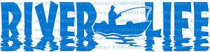 River-Life-Fisherman-in-Boat-Fish-Vinyl-Decal-Boat-Sticker-Fishing-Fish-Auto