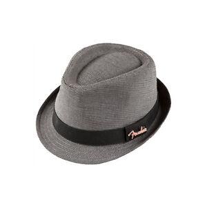 910-6632-306-Fender-Guitar-Unisex-Black-Gray-Houndstooth-Fedora-Hat-Black-S-M
