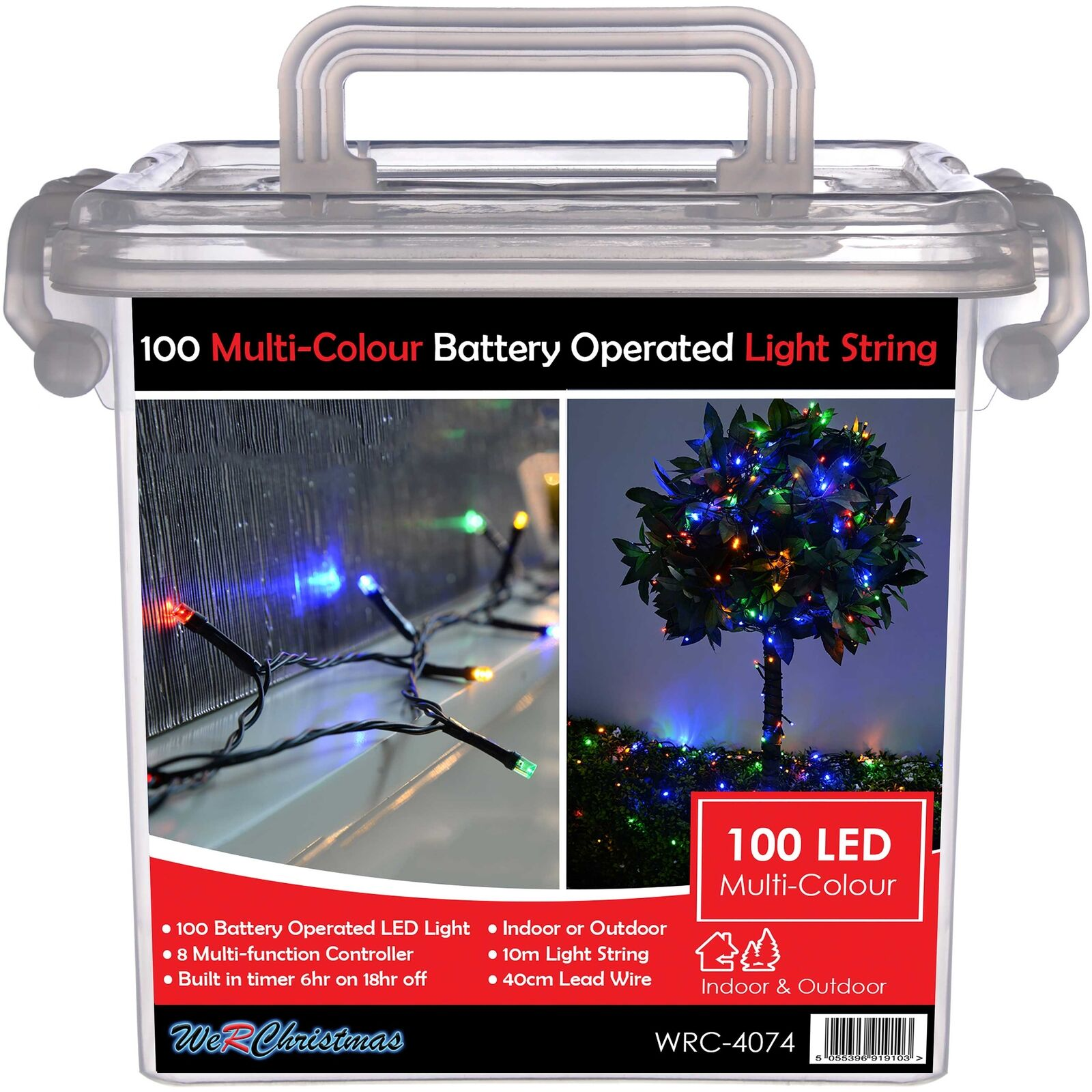 10 M Cable Outdoor Battery Operated 100 Led Light String With Built