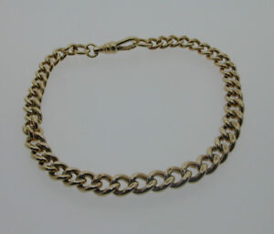 Antique-9-Carat-Gold-Flat-Curb-Graduated-Albert-Watch-Chain-Bracelet-20g-SOLID