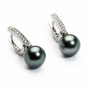 18Carat-White-Gold-Tahitian-Black-Pearls-amp-Diamonds-Drop-Pair-Earrings-0-15cts